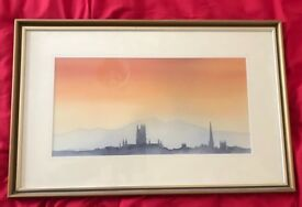 "Original John R Harris Watercolour ""Malvern Hills from Worcester"""