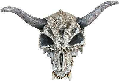 ADULT EVIL COW ANIMAL SKULL & HORNS TV FILM SCARY LATEX OVERHEAD MASK HALLOWEEN - Animal Skull Halloween Mask
