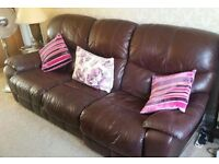 Luxury 3 seater sofa with electric recliners