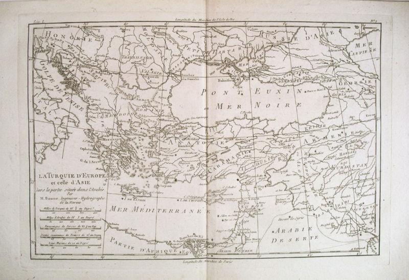 1780 Genuine Antique map of Turkey by Rigobert Bonne