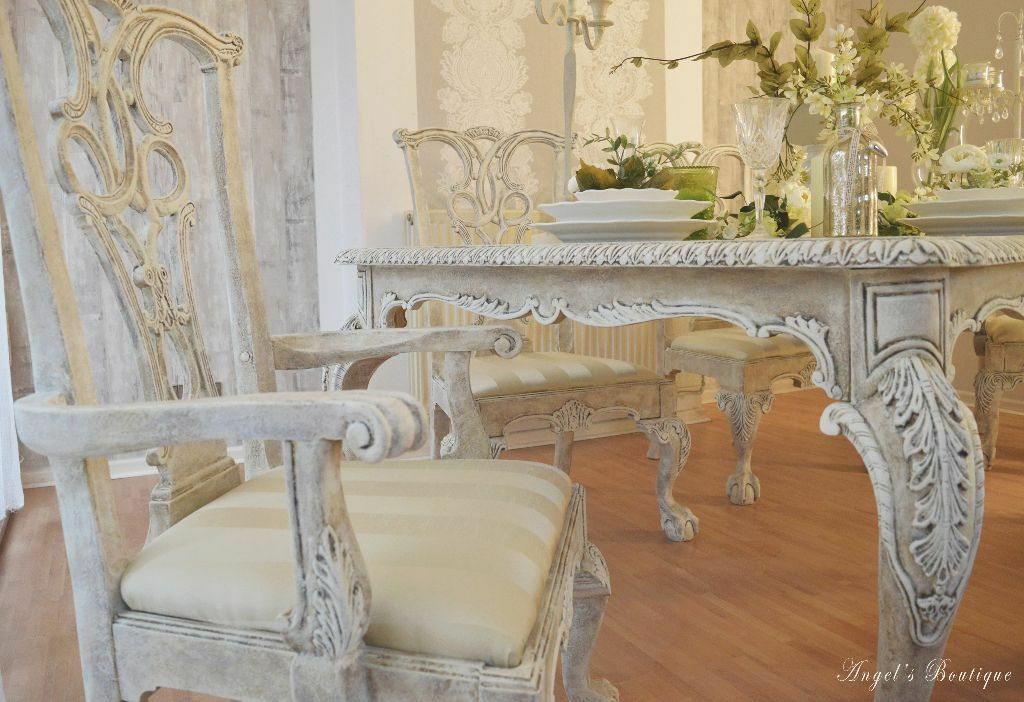 unique antique provence shabby chic dining table with six chairs in bramford suffolk. Black Bedroom Furniture Sets. Home Design Ideas