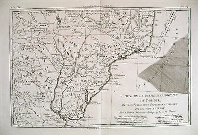 1780 Genuine Antique map S. Brazil & Uruguay by Bonne