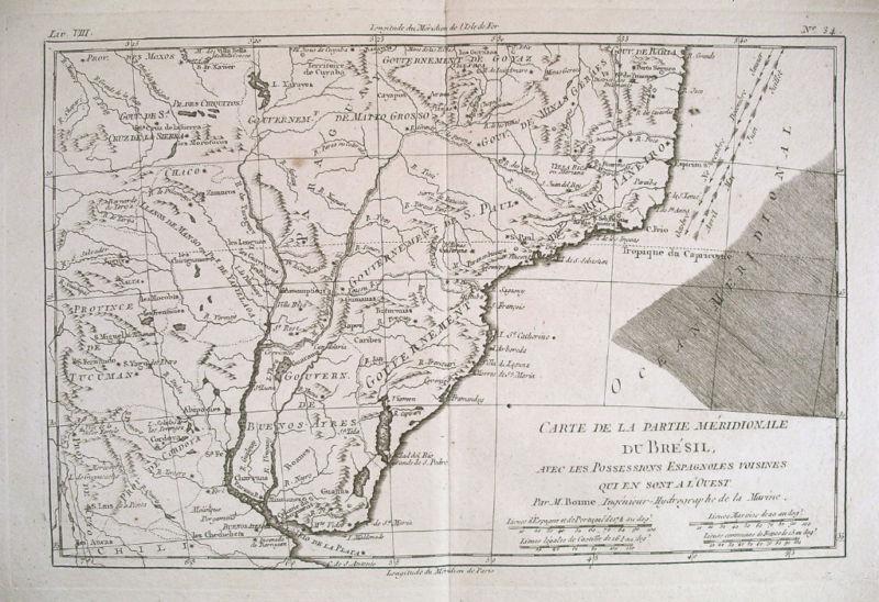 1780 Genuine Antique map S. Brazil & Uruguay by Bonne