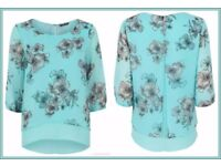 Bonmarche Duck Egg Floral Print Double Layer Top in size 24