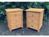 Solid Oak - Pair of 2x Natural Contemporary 3 Drawer Bedside Tables - Oak Furniture Land!