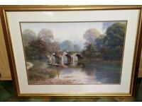 VERY TRANQUIL PICTURE OF A LAKE WITH BRIDGE & BOAT - 88CMS X 64CMS - LOVELY FRAME