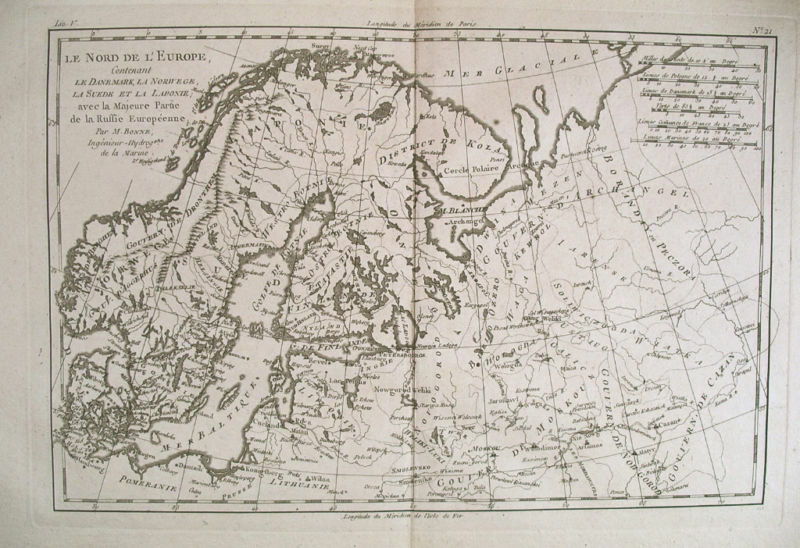 1780 Genuine Antique map of Scandanavia by Bonne