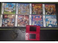 Red Nintendo DS Lite + 8 Games