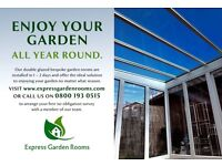 ENJOY YOUR GARDEN ALL YEAR ROUND WITH OUR DOUBLE GLAZED EXPRESS GARDEN ROOMS BUILT IN JUST 1-2 DAYS