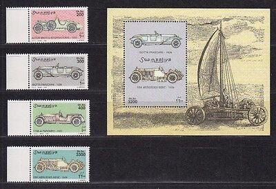 Somalia 1999 Mi. 758-61, Bl. 62 ** Historische Automobile Cars