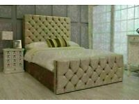 SUPERB SALE OFFER KING SIZE OR DOUBLE CHESTERFIELD CRUSHED VELVET BED SINGLE/ DOUBLE/ KING💝
