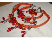 New Red Orange Costume Jewellery Necklace, Bracelet, Adjustable Ring Gift Set