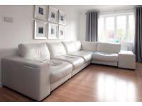 White leather Natuzzi corner sofa unit in good condition