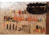 Stanley tool bag with tools for electrician