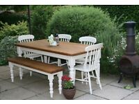 SHABBY CHIC, PINE, 6 ft, FARMHOUSE, DINING TABLE, FOUR CHAIRS & BENCH - F & B paint