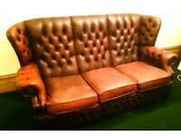 Vintage Chesterfield Oxblood Leather High Button Back Winged Back 3-Seater Sofa