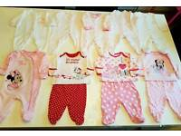 Girls first size sleepsuits/pyjamas