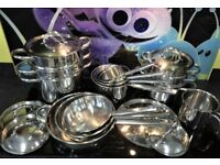 Kitchen Pots Professional Cookware in very high grade Stainless Steel. Twenty Piece Set