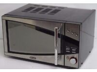 Black and silver delonghi microwave