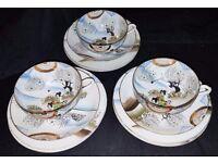 3 x Vintage Asian China Tea Cups, Saucers and 6 x Tea Plates