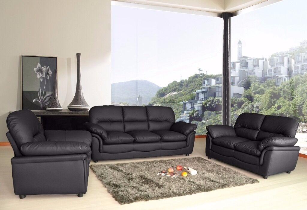 Modern Verona Luxury 3 2 1 Seater Bonded Leather Sofa Suite Black