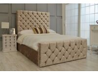 CREAM DOUBLE CRUSHED VELVET CHESTERFIELD BED WITH COMFORTABLE MATTRESS --- SINGLE KINGSIZE AVAILABLE