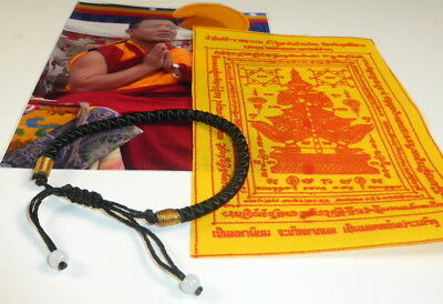 1 x SAI SIN Sacred BLACK BUDDHA BRACELET blessed Buddhist Monk Luck PHA YANT.