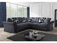 BRAND NEW FARROW LEATHER & CHENILLE FABRIC CORNER SOFA IN BLACK/GREY OR BEIGE