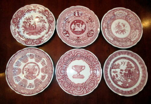 New Spode Archive Collection Cranberry Georgian Dinner Plates Set of 6 Horchow