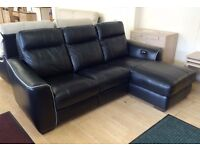 Furnitre Village BLACK LEATHER 3 Seater ELECTRIC RECLINER SOFA with RHF Chaise + FREE LOCAL DELIVERY