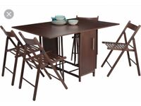 Foldable Dining Table and 4 Chairs - Chocolate