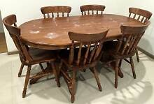 Timber Dining table with six chairs size 1.830 mt x 0.910 mt barg Rowville Knox Area Preview