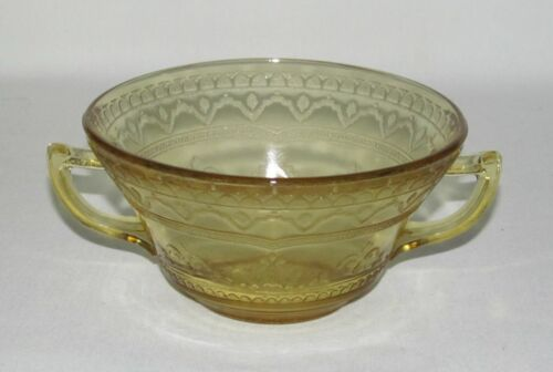 """Federal Glass PATRICIAN """"Spoke"""" Amber Two-Handled Cream Soup Bowl"""