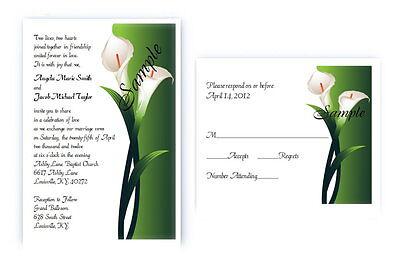 Calla Lily Wedding Invitation (100 Personalized Custom Spring Calla Lily Bridal Wedding Invitations Set )