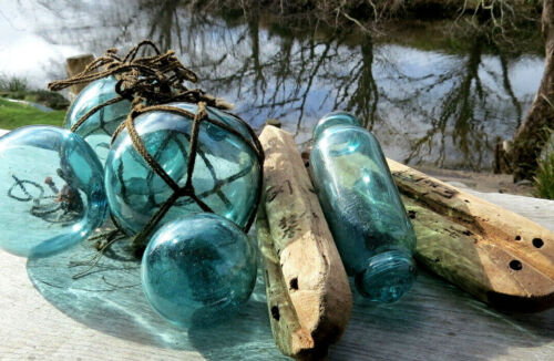 Japanese Floats (2)- Ancient Wooden/Kanji-Marked + (5)- TEAL Mixed Glass UNIQUE!