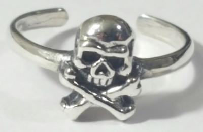 Toe Ring Skull and Cross Bones Adjustable 925 Sterling Silver # 2](Bones And Skulls)