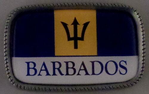 BARBADOS FLAG Antique Silver Belt Buckle USA MADE Barbadian