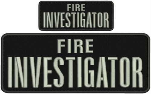 Fire Investigator embroidery patches 4x10 and 2x5 hook silver