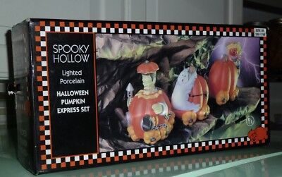 VTG 1997 SPOOKY HOLLOW HALLOWEEN PUMPKIN EXPRESS 3 PIECE LIGHTED PORCELAIN SET