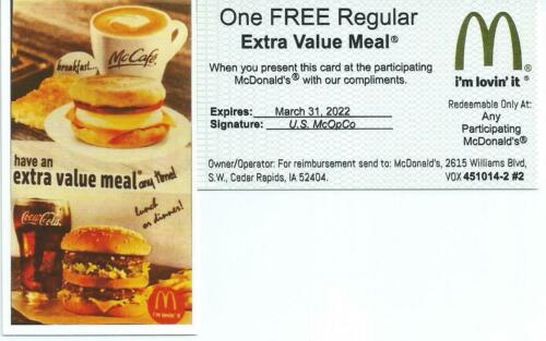 15 Mcdonalds  Meal Cards