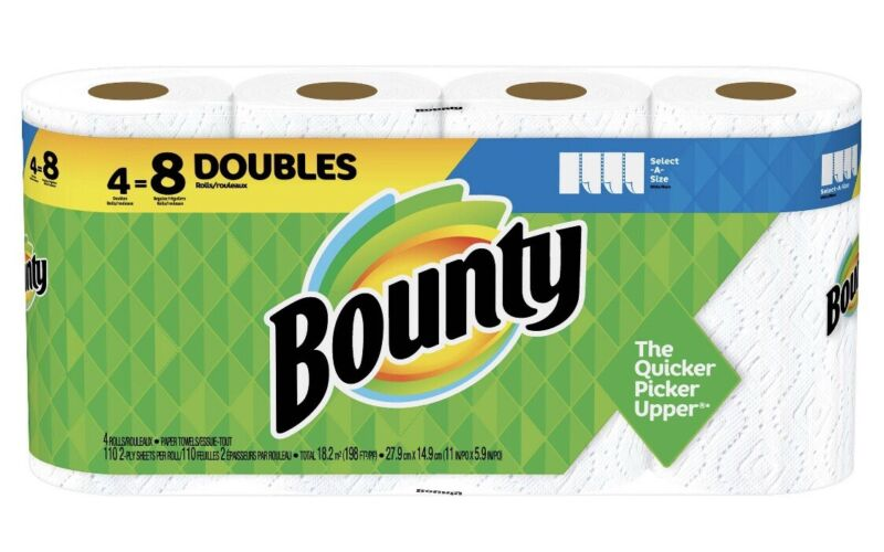 bounty paper towels , 4 Double Rolls=8 Regular Rolls