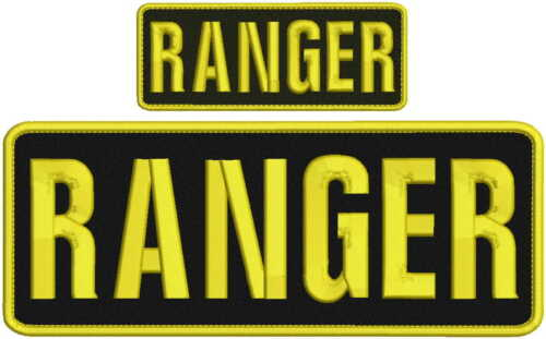 ranger embroidery patch 4x10 and 2x5 hook on back gold letters  black background