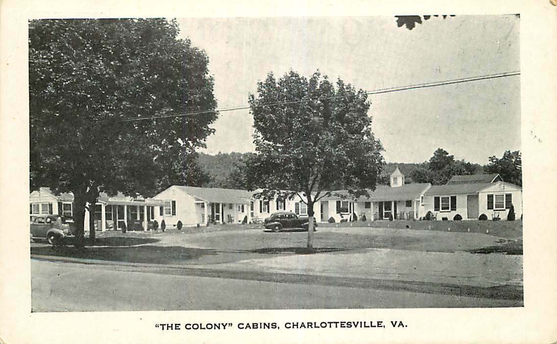 Roadside Postcard The Colony Cabins, Charlottesville, Virginia - circa 1930s