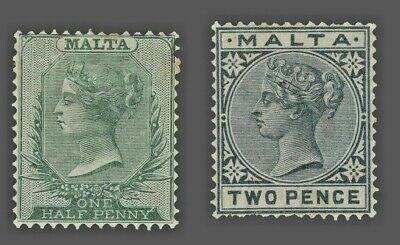 Malta Sc. #8 // 10  MLH   Wmk.2 Perf.14  Queen Victoria 1885
