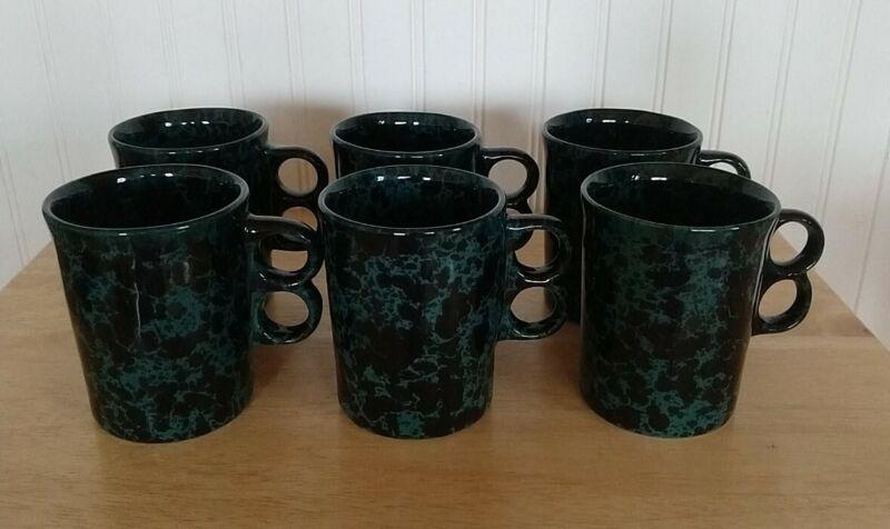 6 BENNINGTON POTTERS Pottery GREEN AGATE Trigger Handle Coffee Mugs 1340