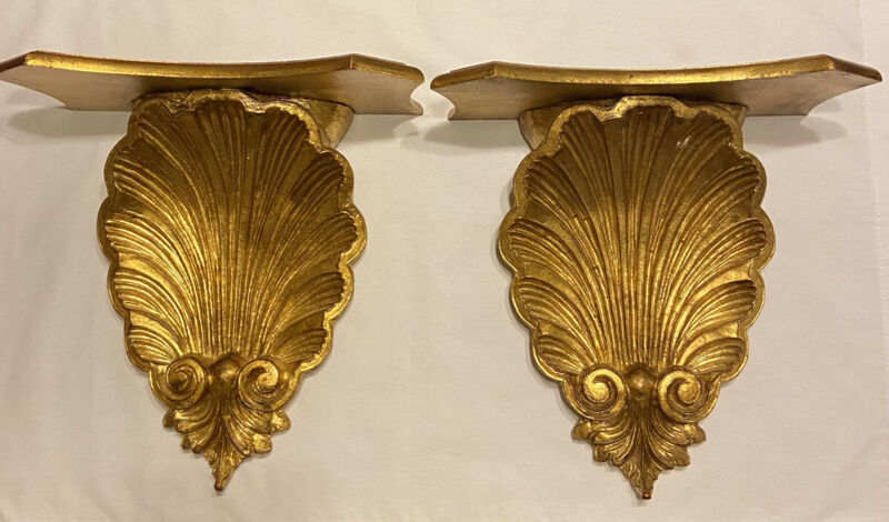 Italy Florentine Gold Hand Carved Wood Wall Sconces Shelves Pair