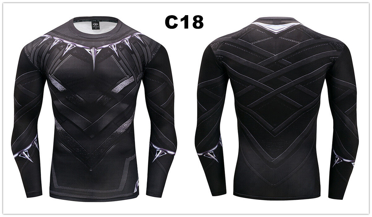 Men TShirt Compression Tops Superhero Avengers Marvel Muscle Fitness Shirt Tee