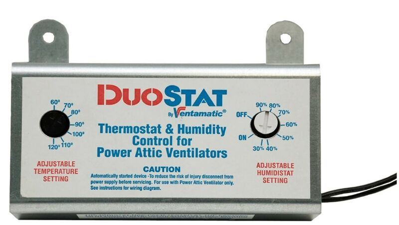 Ventamatic XXDUOSTAT Adjustable Dual Thermostat/Humidistat Control for Power Att