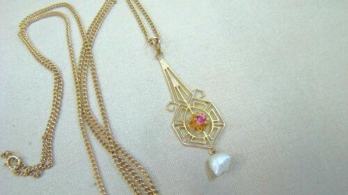 Antique 10K Gold Filigree Lavalier Necklace w 10K Chain