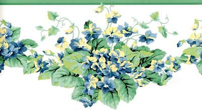 - Yellow Blue Green Leaf & Garden Floral Vine Wallpaper Border Flower Wall Decor